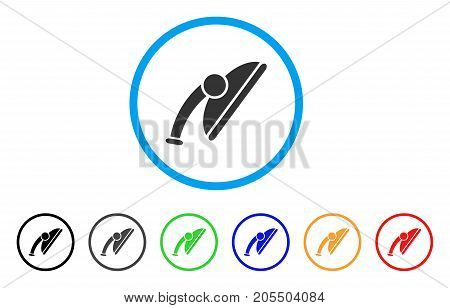 Shower Head rounded icon. Style is a flat shower head grey symbol inside light blue circle with black, gray, green, blue, red, orange versions. Vector designed for web and software interfaces.