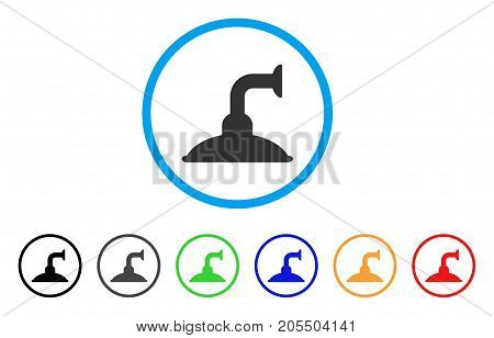Shower Head rounded icon. Style is a flat shower head gray symbol inside light blue circle with black, gray, green, blue, red, orange versions. Vector designed for web and software interfaces.