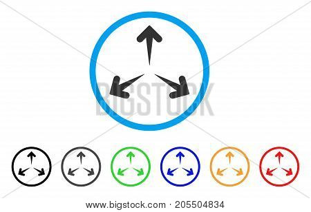 Expand Arrows rounded icon. Style is a flat expand arrows grey symbol inside light blue circle with black, gray, green, blue, red, orange versions. Vector designed for web and software interfaces.