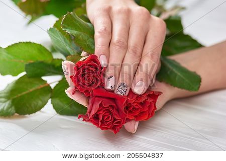 Hands of woman with roses. Young womans hand with delicate manicure on bright roses. Ladies nails beauty and skin love.