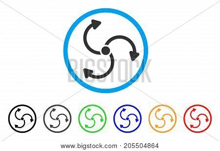Fan Rotation rounded icon. Style is a flat fan rotation gray symbol inside light blue circle with black, gray, green, blue, red, orange color versions. Vector designed for web and software interfaces.