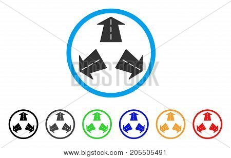 Road Directions rounded icon. Style is a flat road directions grey symbol inside light blue circle with black, gray, green, blue, red, orange versions. Vector designed for web and software interfaces.
