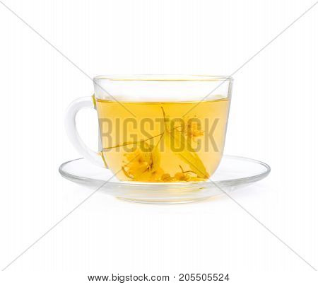 Tea from Linden flowers in glass cup isolated on white background