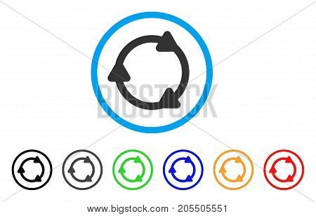 Rotate Back rounded icon. Style is a flat rotate back grey symbol inside light blue circle with black, gray, green, blue, red, orange variants. Vector designed for web and software interfaces.