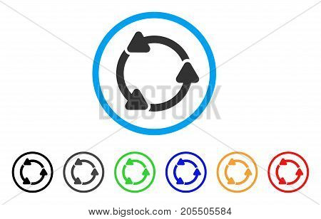 Rotate CCW rounded icon. Style is a flat rotate ccw grey symbol inside light blue circle with black, gray, green, blue, red, orange color versions. Vector designed for web and software interfaces.