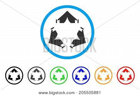 Tent Camp rounded icon. Style is a flat tent camp grey symbol inside light blue circle with black, gray, green, blue, red, orange variants. Vector designed for web and software interfaces.