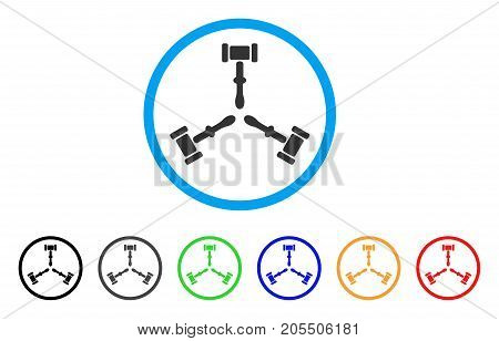 Triple Judicial Gavel rounded icon. Style is a flat triple judicial gavel gray symbol inside light blue circle with black, gray, green, blue, red, orange versions.