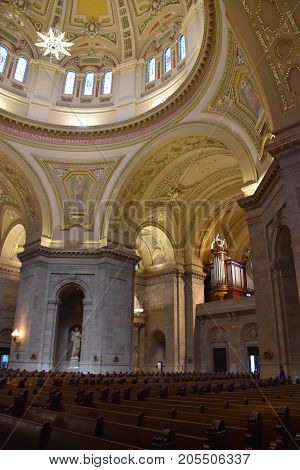 ST PAUL, MINNESOTA - JUL 29: Cathedral of Saint Paul in Minnesota, as seen on July 29, 2017. It is dedicated to Paul the Apostle, who is also the namesake of the City of St. Paul.
