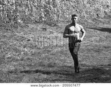 Muscular Guy Running Outdoor