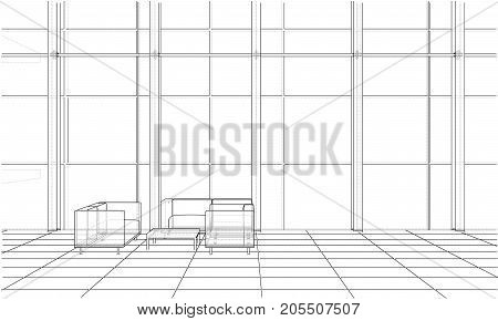 Interior sketch drawing perspective of space office. Vector rendering of 3d. Wire-frame style. The layers of visible and invisible lines are separated