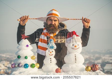 Bearded Hipster On Winter Day