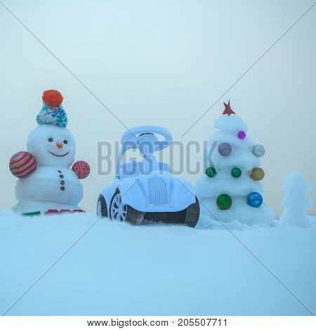 Christmas Tree With Balls On Blue Sky