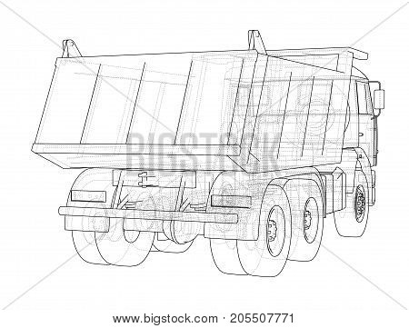 Dump truck. Vector rendering of 3d. Wire-frame style. The layers of visible and invisible lines are separated