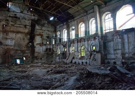 Inside abandoned and destroyed sugar factory in Ramon, Voronezh region
