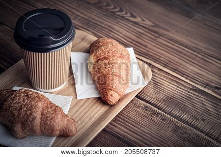 Two Croissants And Coffee-to-go