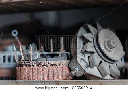 car generator parts. horizontal Closeup day shot
