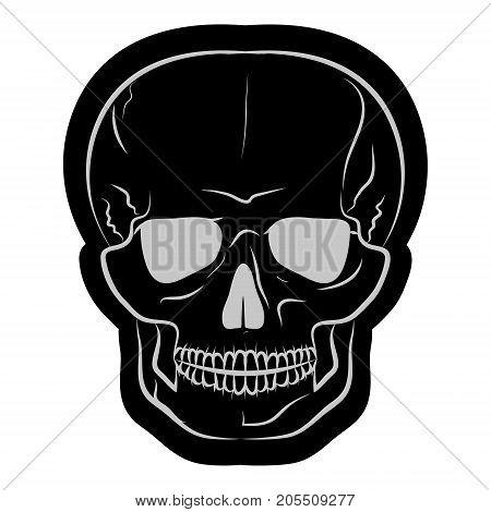 image of a black human skull. vector illustration.