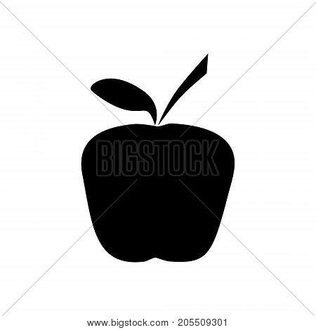 black silhouette of apple. tag, label, emblem vector illustration