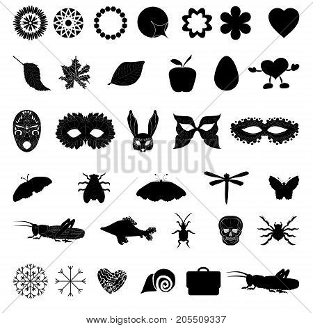 A set of black icons with different images. insects, holidays, symbols. for sites, tags, design vector