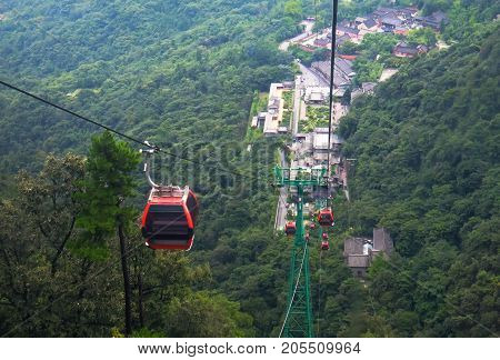 the view of Wudang mountain view from the cable car. taken to the top of this hill That's a Golden temple. Hubei Province china