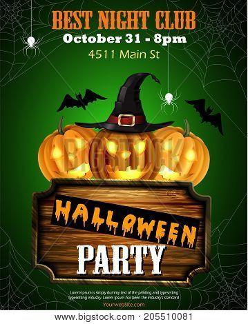 Halloween party flyer with pumpkins, hat, bats spiders and wooden board vector vector.