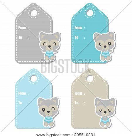 Cute raccoon boy vector cartoon illustration for baby shower gift tag design, label tag and sticker set design