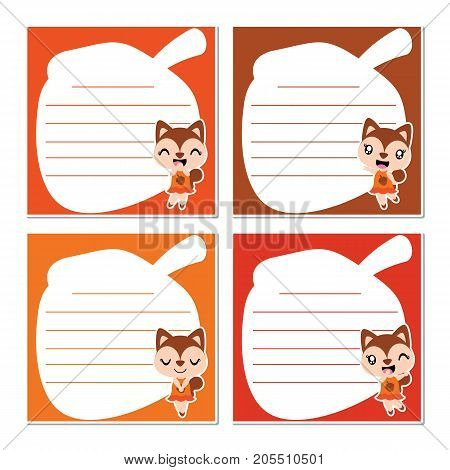 Cute squirrel girls on nut frame vector cartoon illustration for kid memo paper design, planner paper and stationery paper