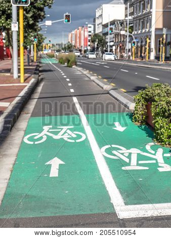 Cycle lanes for bicycles on Quay Street Auckland CBD New Zealand NZ - urban transportation