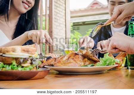 Group Friends Young Asian People Party And Eating Food Happy Enjoying In Home