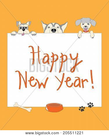 Kids new year card with funny three cartoon dogs and text Happy New Year on the orange background. eps 10