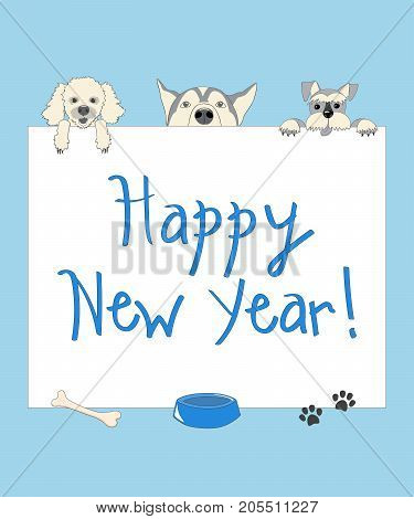 Kids new year card with funny three cartoon dogs and text Happy New Year on the blue background. eps 10