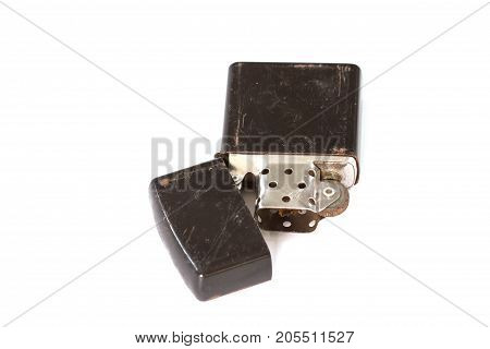 Old Cigarette lighter isolated on white background closeup