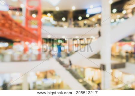 Abstract blur shopping mall and department store interior background.