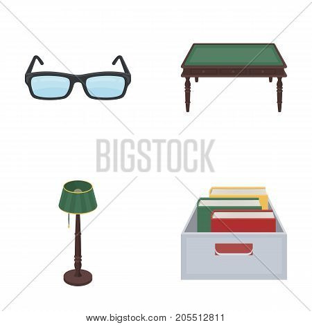 Glasses, a wooden table, a floor lamp, a box with books. A library and a bookstore set collection icons in cartoon style vector symbol stock illustration .