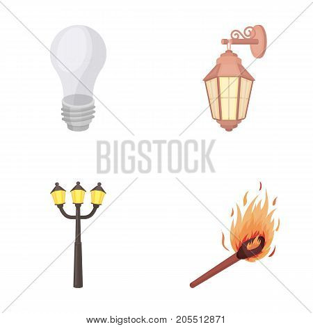 LED light, street lamp, match.Light source set collection icons in cartoon style vector symbol stock illustration .