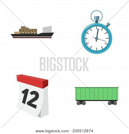 Cargo ship, stop watch, calendar, railway car.Logistic, set collection icons in cartoon style vector symbol stock illustration .