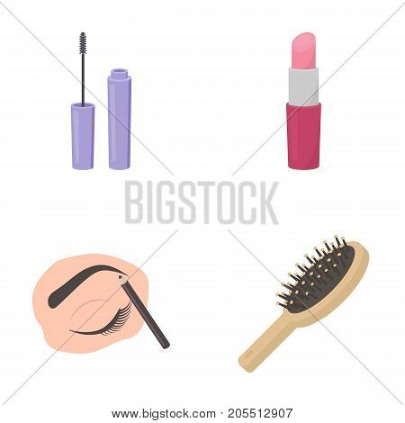 Mascara, hairbrush, lipstick, eyebrow pencil, Makeup set collection icons in cartoon style vector symbol stock illustration .