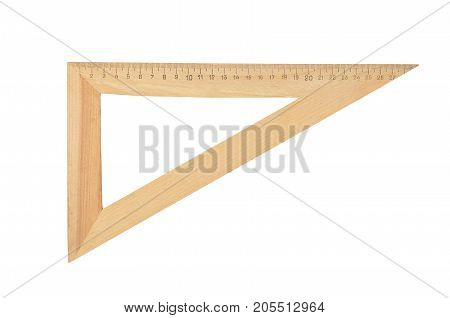 Old wooden triangle isolated on white background
