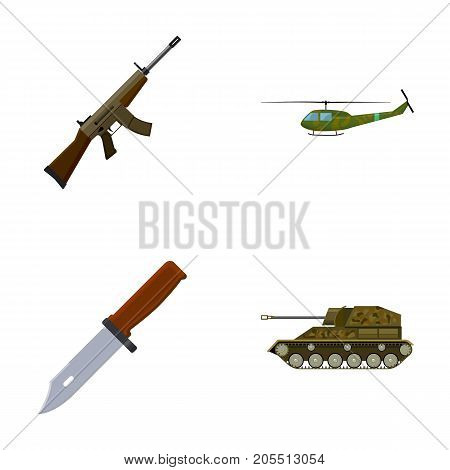 Assault rifle M16, helicopter, tank, combat knife. Military and army set collection icons in cartoon style vector symbol stock illustration .