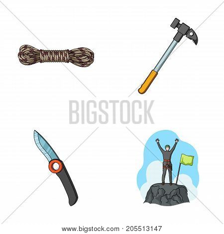 Climber on conquered top, coil of rope, knife, hammer.Mountaineering set collection icons in cartoon style vector symbol stock illustration .