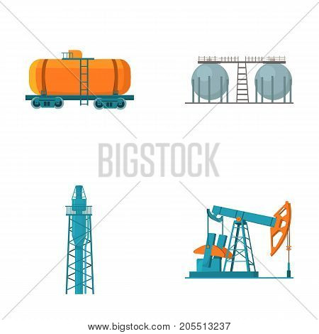 A railway tank, an oil storage, a drilling tower, an oil pump. Oil industry set collection icons in cartoon style vector symbol stock illustration .