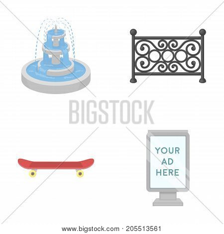 Fountain, fence, skate, billboard.Park set collection icons in cartoon style vector symbol stock illustration .