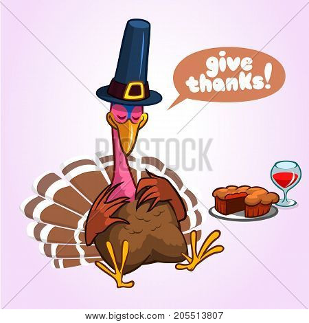 Sleeping turkey after good meal with pie and glass of red vine. Thanksgiving illustration of cartoon turkey isolated on white background