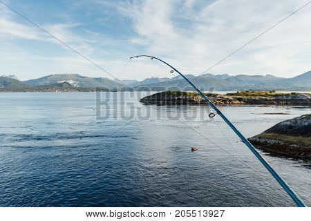 Beautiful view on norwegian fjords from fisherman. outdoor shot in Norway. copy space.