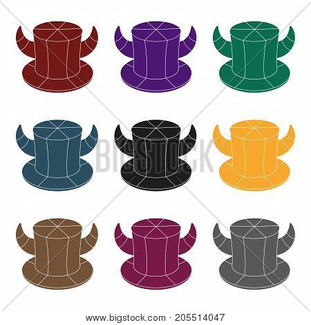 Hat of a fan with horns.Fans single icon in black  vector symbol stock illustration.