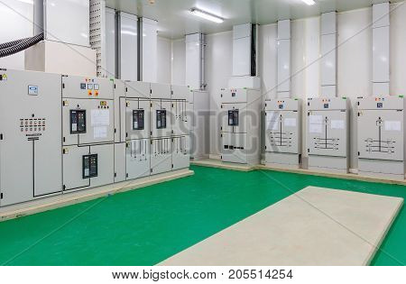 Electrical energy distribution substation in a new factory plant, Industrial electrical switch panel