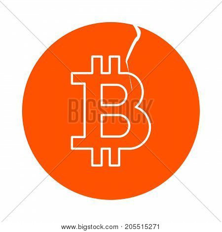 Symbol of digital crypto currency bitcoin round line icon with a crack flat style