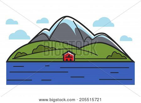 Natural landscape with high mountains, green field, small red house, fluffy clouds and deep blue sea isolated cartoon flat vector illustration on white background. Pure environment and human dwelling.