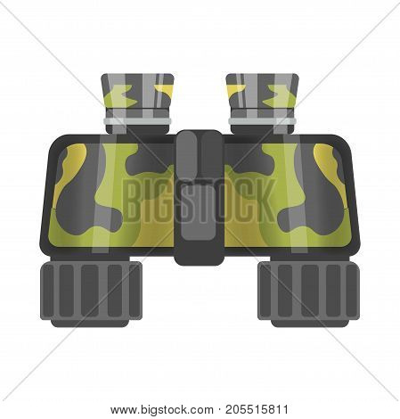 Military binoculars of camouflage color isolated cartoon flat vector illustration on white background. Optical appliance for observation of objects that situated on long distance from observer.