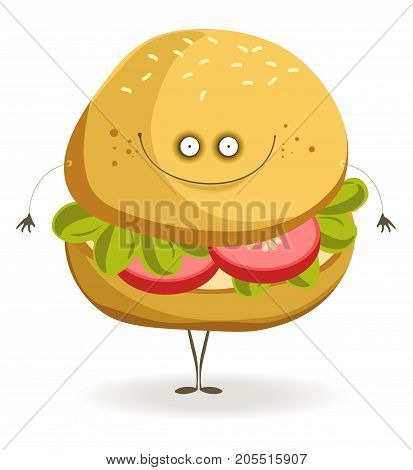 Delicious vegan burger full of tomatoes slices and lettuce leaves with cheerful face and thin limbs isolated vector illustration on white background. Edible character with adorable face expression.
